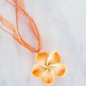 New Orange Hawaiian Floral Necklace